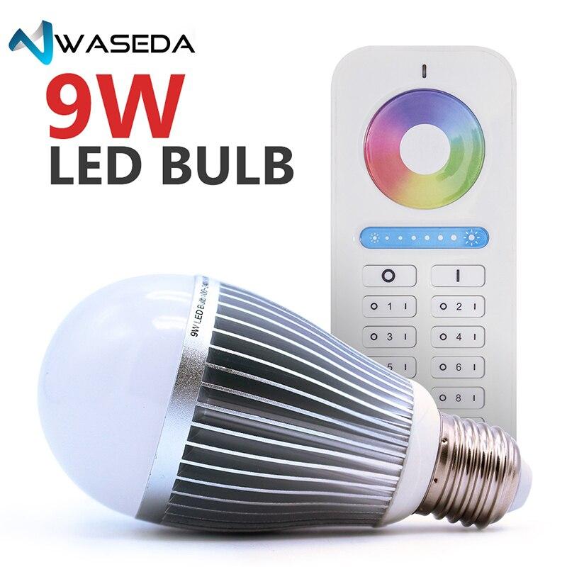 Waseda 2.4 ghz sans fil 9 w RGB + CCT smart ampoule AC100-240V 6-ZONE télécommande e27 e26 gradateur LED ampoule dimmable lampe RGBW/RGBWW