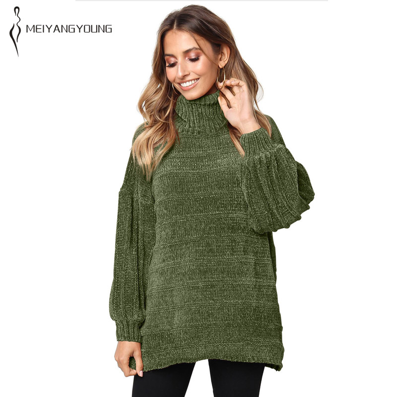 Sleeve Sweater Size Solid armygreen khaki Long Clothes Black Warm grey Turtleneck Elegant Fat Pullovers Knitted New Casual Women Plus Winter Loose Rib IxC8q6wgp