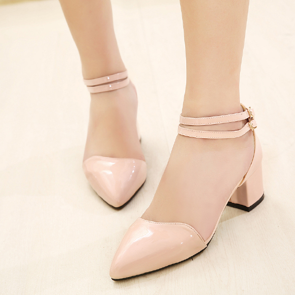 Low Price 2016 Brand New Sweet Sexy Ladies Pointed Toe Buckle Thick Mid Heels Women Pumps Less Platform Pink White Shoes 8