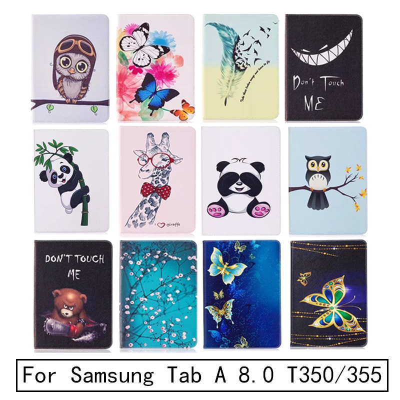 New Folio Printed Owl Bear For Samsung Galaxy Tab A 8.0 T350 Case Flip PU Bracket Funda For Tab A 8.0 SM-T350 T355 Tablet Case luxury tablet case cover for samsung galaxy tab a 8 0 t350 t355 sm t355 pu leather flip case wallet card stand cover with holder