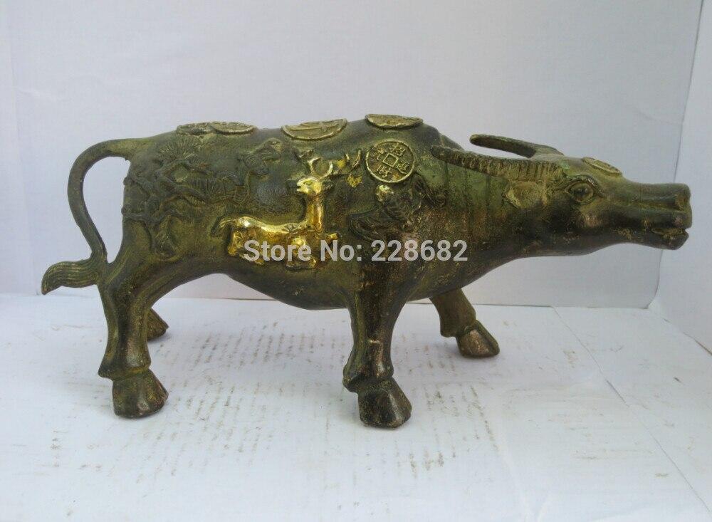 Chinois de collection Décoré vieux bronze Sculpté vache sculpture Or doré cerfs statue expédition rapide