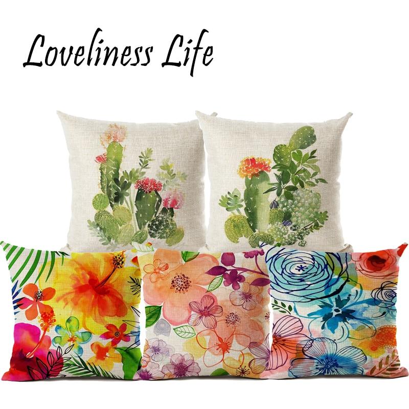 Fresh Nordic Cactus Oil Painting Floral Linen Cotton Cushion Cover Home Decor Sofa Car Chair Pillow Case Textile Pillow Throw