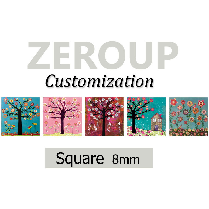 ZEROUP Professional customized services 8mm square pictures glass cabochon mixed patterns jewelry components 468pcs/lot