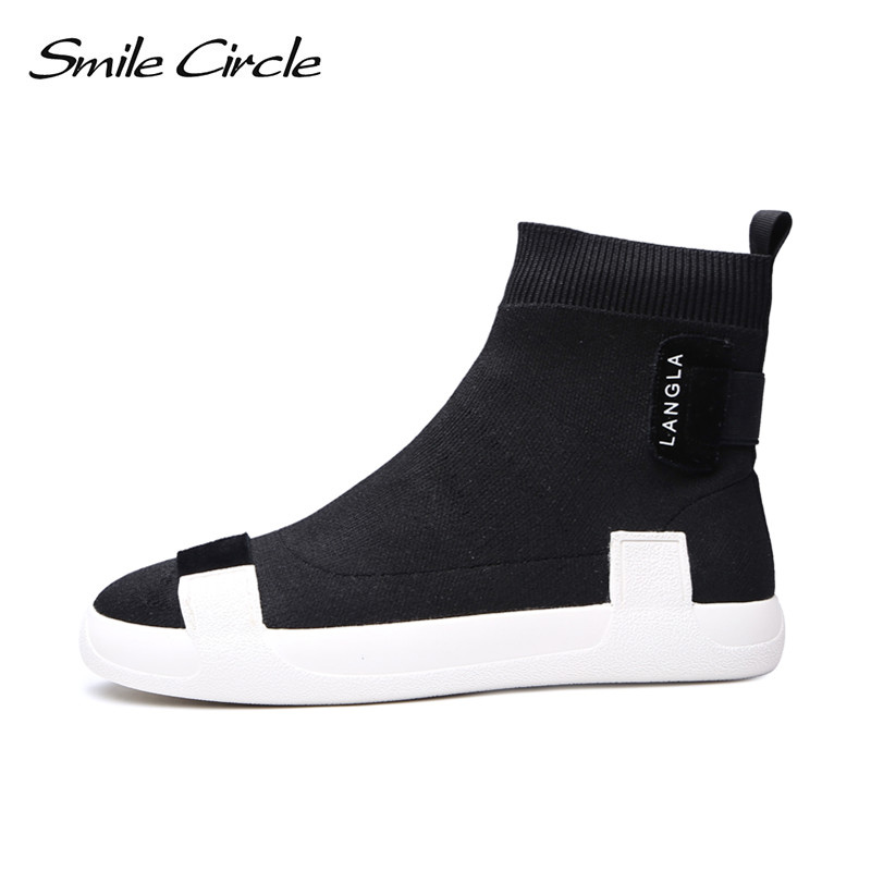 Smile Circle knit slip on Sneaker women High top sock sneaker Lightweight Breathable Casual Shoes women
