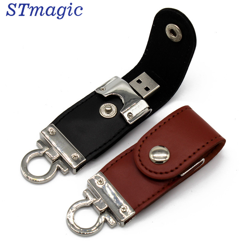 цены STmagic USB flash drive Leather metal keyring Pendrive creativo USB 2.0 32gb 16gb 8gb 4gb