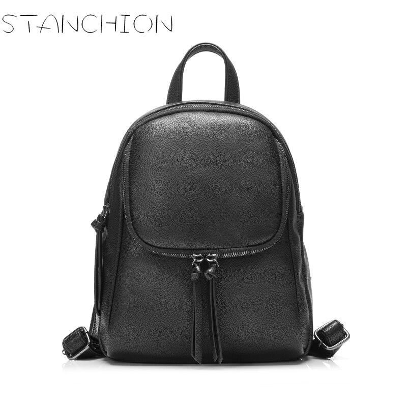 Women Backpacks Rivet Black Soft Leather Schoolbags for Girls Female Leisure Backpack Mochilas