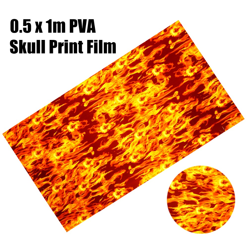 1Pc PVA Flame Water Transfer Print Film 0.5 X 1m Dipping Skulls Hydrographics Water Transfer Printing Flaming Film For Crafts