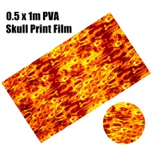 цена на 1Pc PVA Flame Water Transfer Print Film 0.5 x 1m Dipping Skulls Hydrographics Water Transfer Printing Flaming Film For Crafts