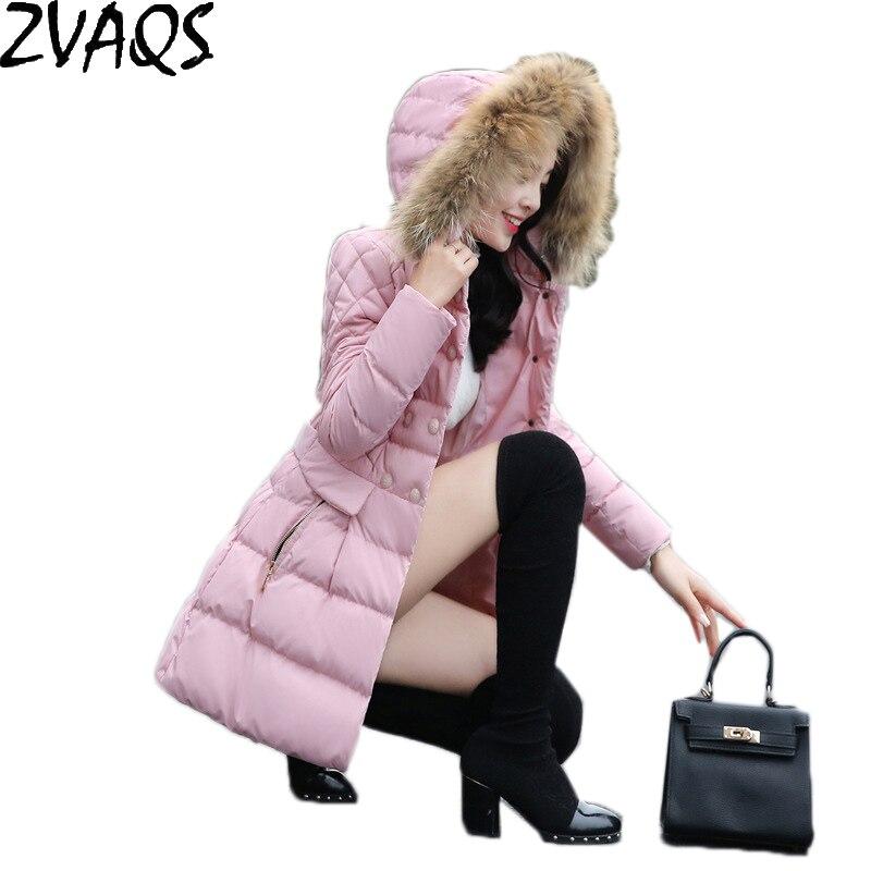Collo Nuove Cappuccio Cappotto Raccoon Con gray pink Tuta Di Pelliccia Black Imbottito Invernale lungo Giacca Sottile Cotone Donne Medio Reale In Sportiva Femminile Parka Ym478 7Ar7azx