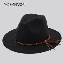 abe8a86c37 2018 Nova Moda Feminina Inverno de Lã Vermelho Fedora Bowler Hat Igreja  Senhoras Top Jazz Chapéu