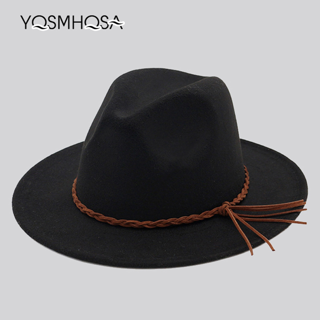 1eeddbe28c44f 2018 New Fashion Women Winter Wool Red Fedora Bowler Hat Ladies Church Top  Jazz Hat Men Fedora Hat for Woman Wholesale WH702