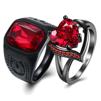 Gothic Boheme Red Party Punk Couple Rings Crystal Cubic Zircon Ring for Women Stainless Steel Black Ring Men Love Gift 2019