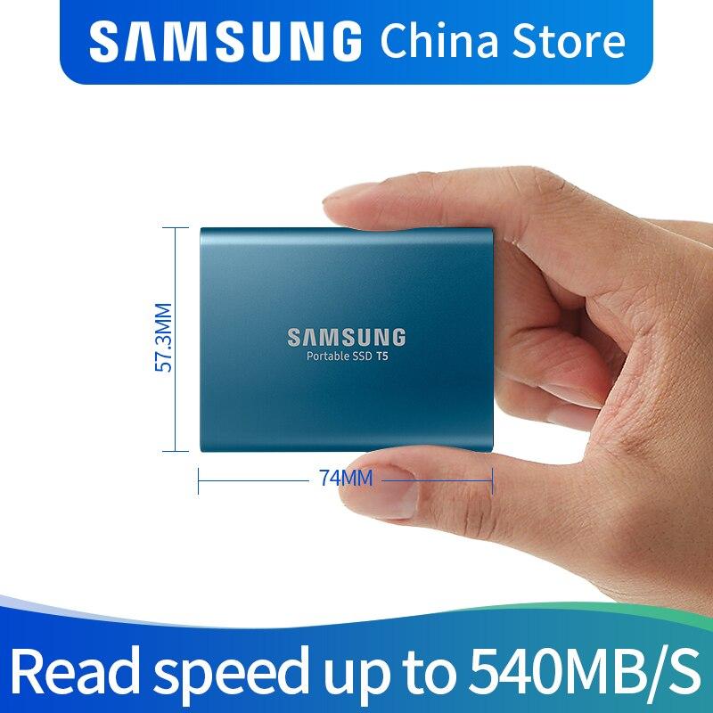 Samsung T5 portable SSD 250 GB 500 GB 1 to 2 to USB3.1 externe à semi-conducteurs USB 3.1 Gen2 et rétrocompatible pour PC