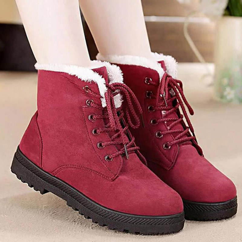 Women Winter Fur Snow Boots 2018 Ladies Warm Shoes Plus Size Platform Lace Up Suede Ankle Boots Female Fashion Low Heels fast delivery snow boots 2018 fashion warm heels ankle boots women winter shoes lace up plus size 35 44 for female