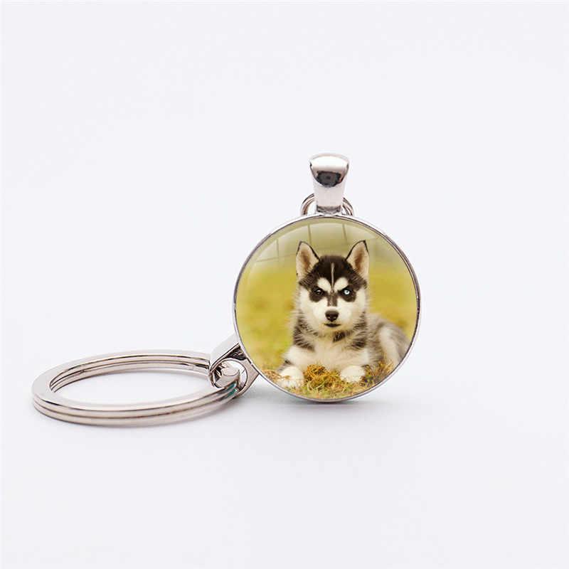 Chất Lượng cao Siberian Husky keychain Cho Phụ Nữ Bạc Mạ Con Chó dây đeo chìa khóa vòng chìa khóa may mắn bùa Quyến Rũ Động Vật Keyholder