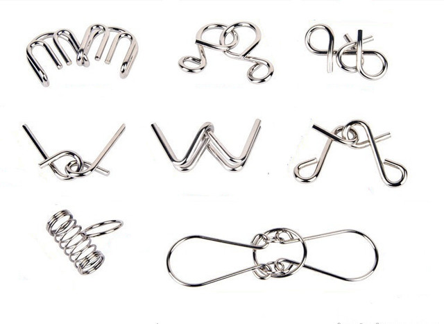 8 Pieces IQ Metal Wire Puzzle Magic Brain Teaser Iron Puzzles Game For Adults Children