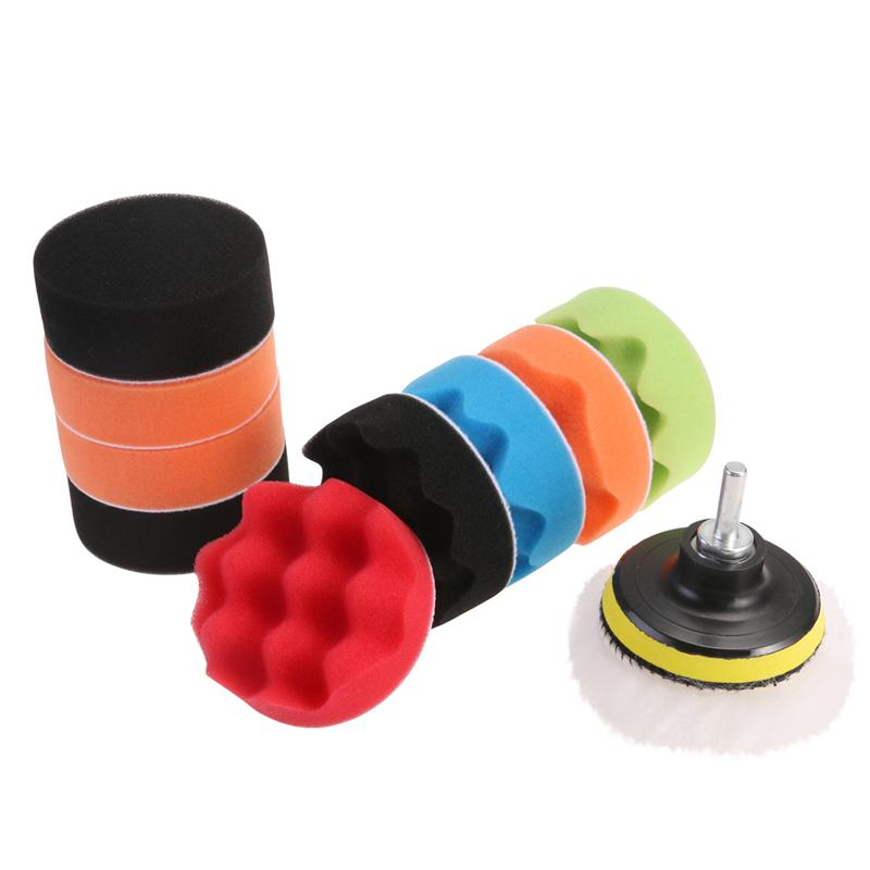 12pcs 3-inch Polishing Pads Sponge & Woolen Polishing Waxing Buffing Pads Kit Auto Car with M10 Drill Adapter