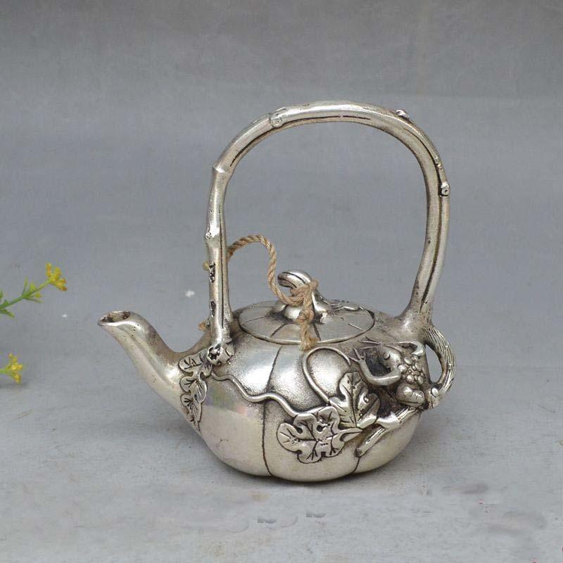 4.7Chinese Silver Animal Frog Melon Auspicious Statue Wine Tea Pot Flagon4.7Chinese Silver Animal Frog Melon Auspicious Statue Wine Tea Pot Flagon