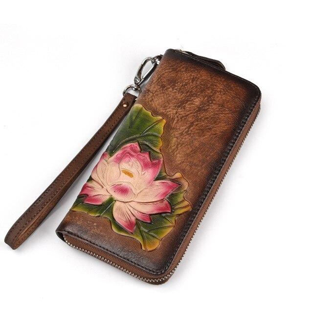 Genuine Leather Women Long Purse Female Clutches Money Wallets Card Holder Vintage Cowhide Wallet Clutch Wrist Bag