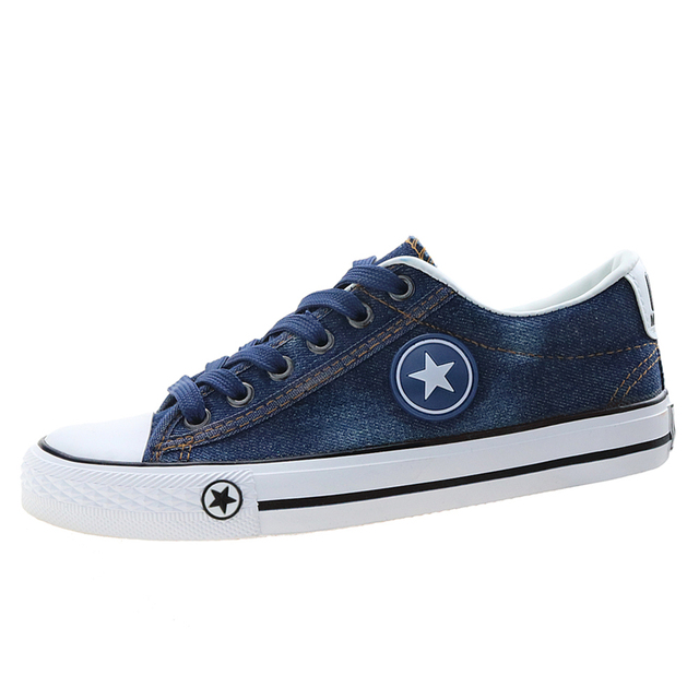 5641ecee38de03 Women Sneakers Denim Canvas Shoes Casual Shoes Trainers Stars Fashion Skate  Shoes Flats Basket Femme Tenis Feminino Size 35-44