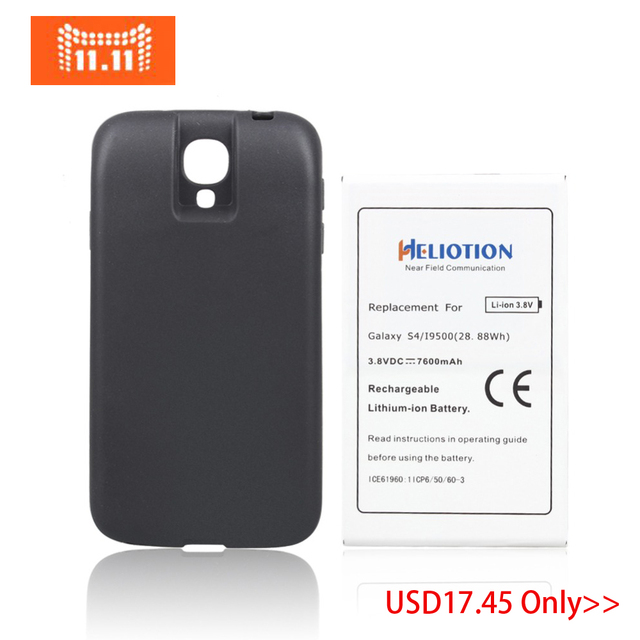 7600 mah extended comercial teléfono nfc teléfono celular de batería de reserva para samsung galaxy s4 i9500 batteria + negro volver cubierta de la puerta
