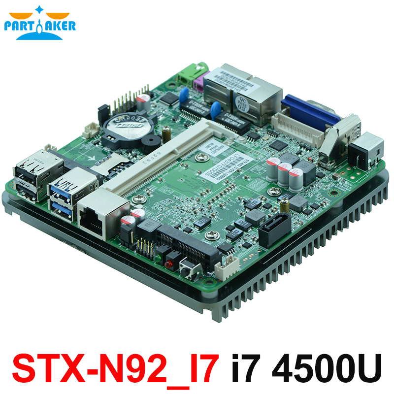 Fanless dual Gigabit Ethernet Intel Haswell-U i7 4500U CPU nano motherboard for intel nuc mini pc DC 12V power supply OEM цена
