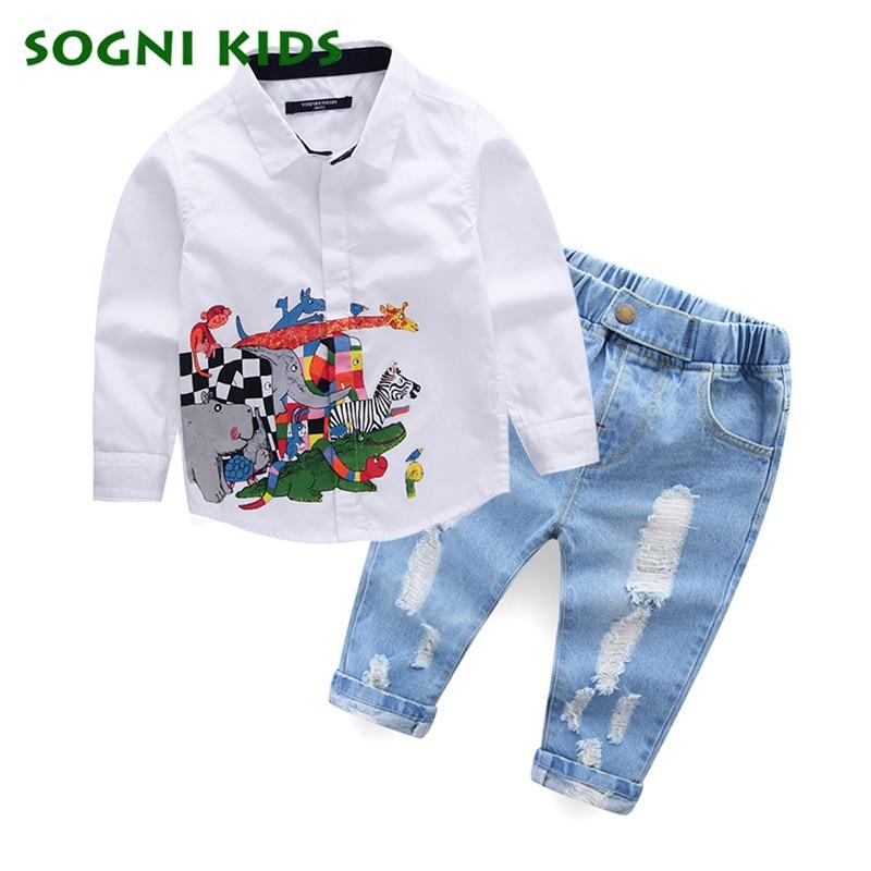 Children's Boys Clothing Set Animal Pattern White T Shirt+Jeans Clothes Suit Boys Kids Brand Gentleman Suit Party Shirt Costume