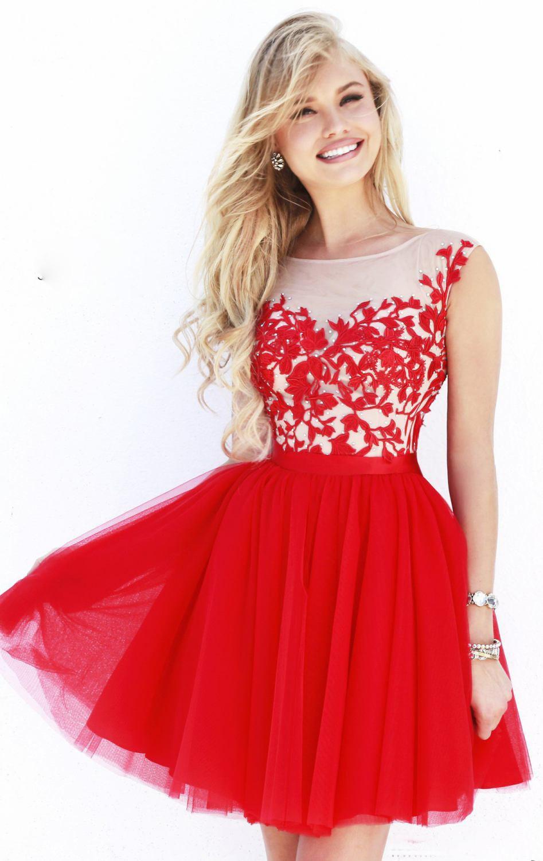 2014 elegant through red lace flowers sleeveless short