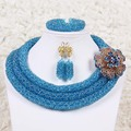 Pretty African Necklace Beads Sets Choker Necklace Crystal Party Jewelry Set Women Free Shipping KL129