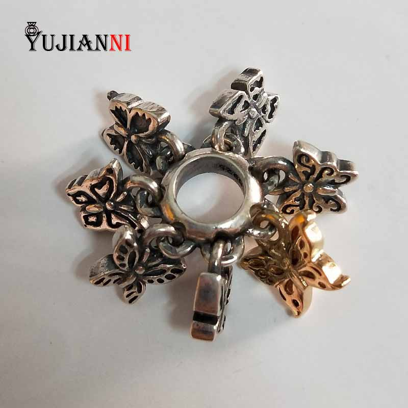 Ailes de breloques de beauté 925 perles pendentif papillon en argent Sterling pour la fabrication de bijoux à bricoler soi-même convient au Bracelet et au collier d'origine