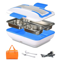 12V Car Plug Electric Lunch Box Portable 304 Stainless Steel Heated Meal Warmer Food Container Travel Bento Box Tableware Set|Lunch Boxes| |  -