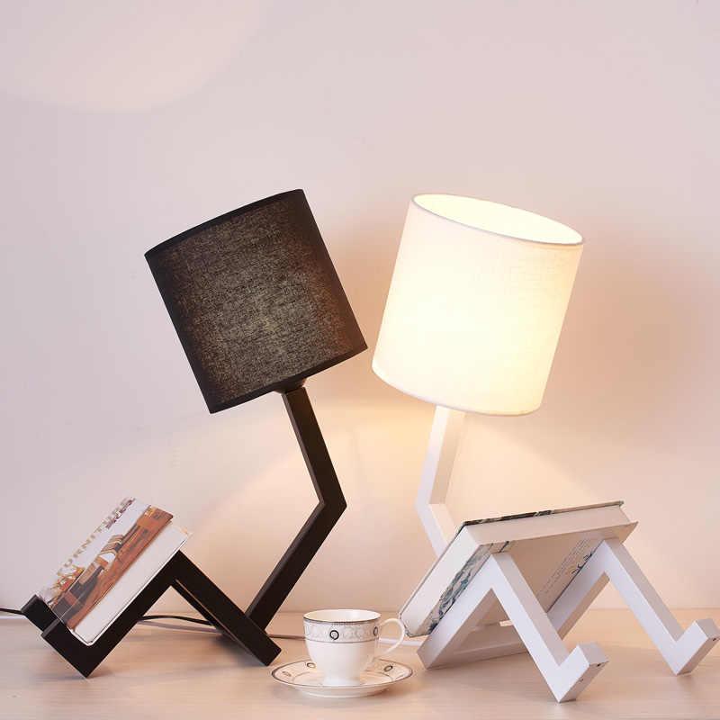 Современная светодиодная настольная лампа для спальни, гостиной, школьников, черно-белые лампы, дизайн, прикроватный столик, ночник, светильник