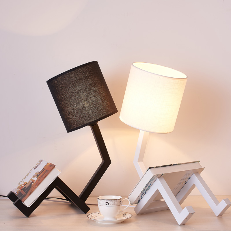 Modern LED Table Desk Lamp for the Bedroom Living Room Schoolchildren Black White Lamps Design Bedside Table Night Light Fixture bdbqbl modern art led table lamp lustre for living room bedroom light ghost desk lamp acrylic lampshade home lighting abajour