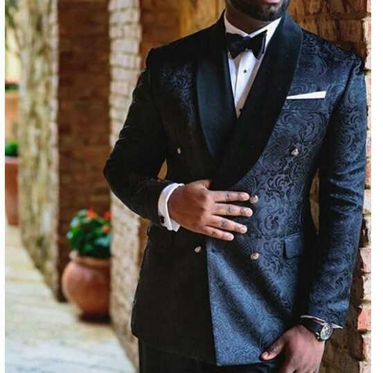 パターン黒最新のデザインメンズディナーパーティースーツ新郎タキシード花婿の付添人の結婚式のブレザースーツ (ジャケット + パンツ + ベスト + ネクタイ)