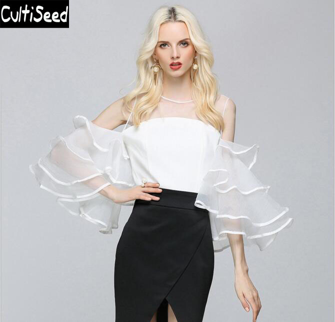 Sexy Perspective Strapless Off The Shoulder Net Yarn Shirt Blouse Tops With Multi Layer Ruffles Flare Sleeve Female Party Shirt