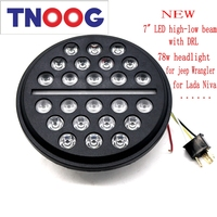 TNOOG For Jeep Wrangler UAZ Hunter Led Headlight 7inch Round High Low Beam With DRL 78W