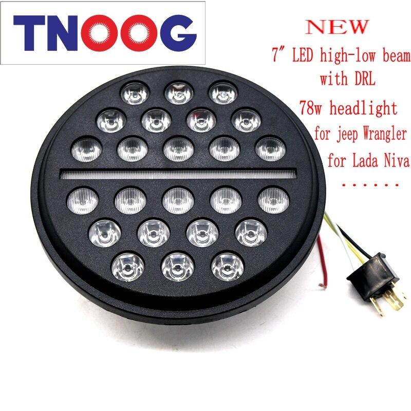 TNOOG For Jeep Wrangler UAZ Hunter Led Headlight 7inch Round High Low Beam with DRL 78W headlamp For Lada 4x4 urban Niva (2pcs)