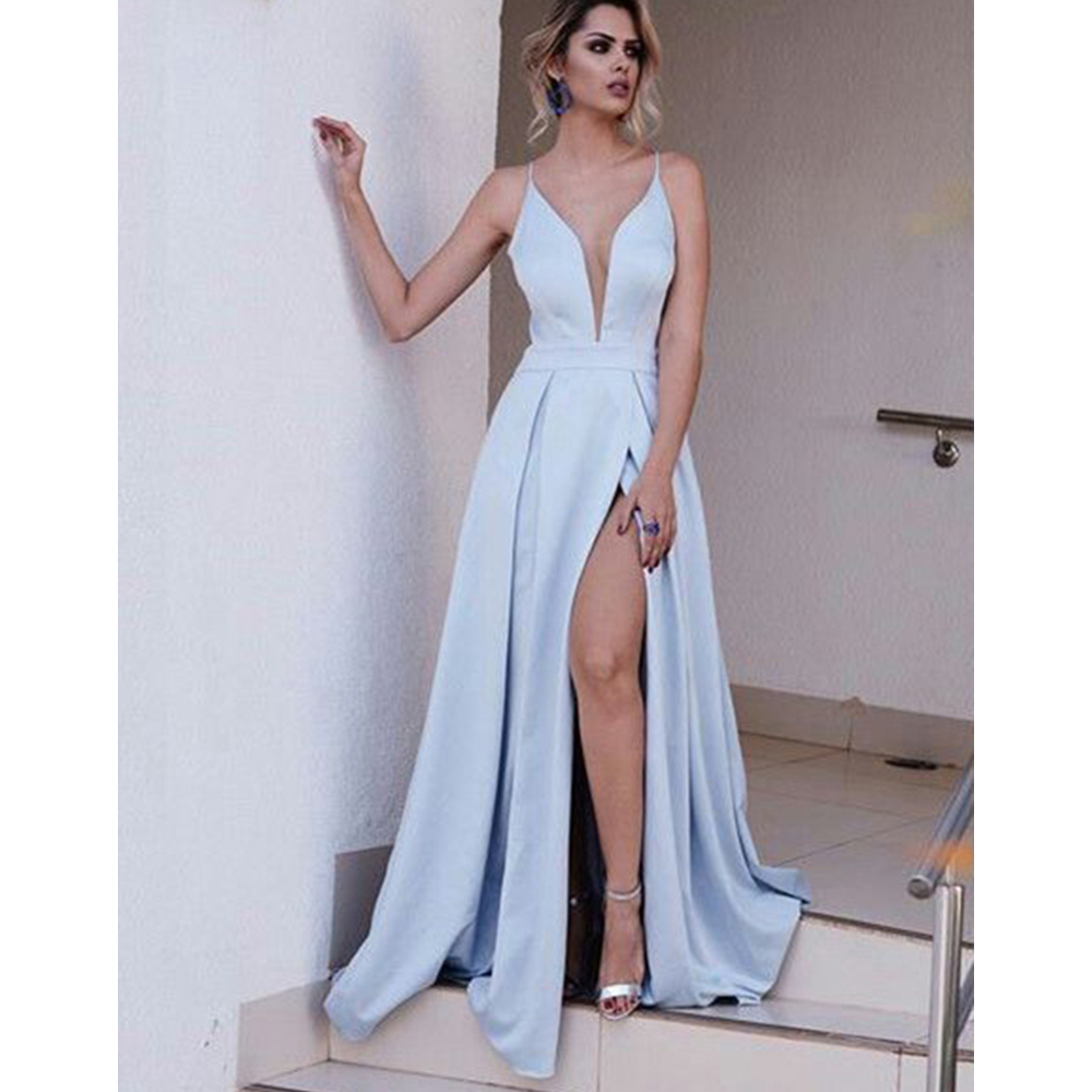 2019 New Baby Blue Wedding Party   Dress   Spaghetti Strap A Line High Split Sexy Long   Bridesmaid     Dresses   High Quality Satin Gowns