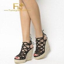 10c6b9bfca27d3 Black Espadrille Wedge Sandals Peep Toe Sparkly Platform Sandals Lace-Up  Noble Generous Incomparable Elegant