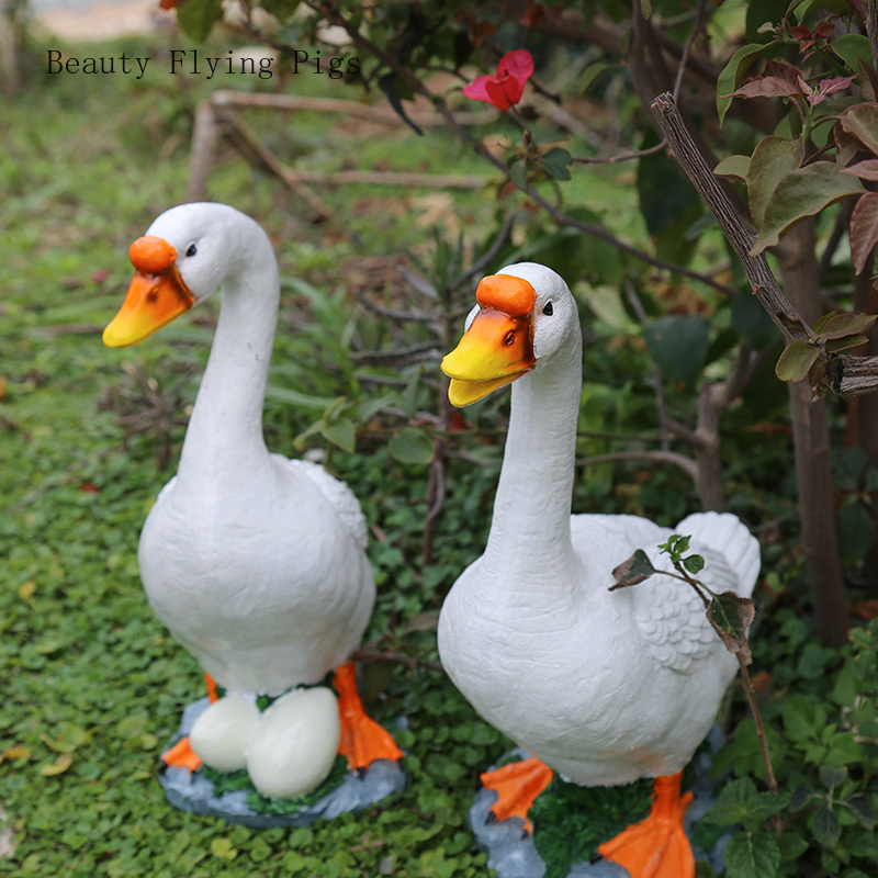 Garden decoration ornaments outdoor gardening decoration ornaments simulation animal resin duck simulation goose ornaments(China)
