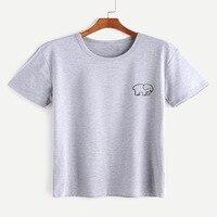 Women Harajuku T Shirt Black Elephant Print Front T Shirt Camiseta Mujer 2017 Summer Fashion Kawaii