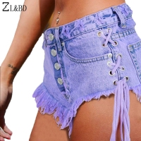ZL BD Women Ssummer High Waist Denim Shorts Fashion Ripped Holes Side Lace Up Bandage Jeans