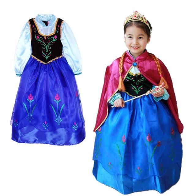 Nuevas muchachas al por menor 2015 del vestido elsa & Anna princesa dress, vestido de partido de la muchacha, niños vestido de la manera de Europa y América.