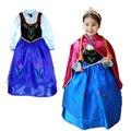 Varejo novas meninas 2015 vestido elsa & Anna vestido de princesa, vestido de partido da menina, vestido de moda Europeus e Americanos das crianças.
