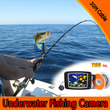 Free Shipping (1 Set) 30M Cable 3.5inch Color Monitor HD 1100TVL Waterproof Fish Finder Underwater Fishing Camera System CMOS