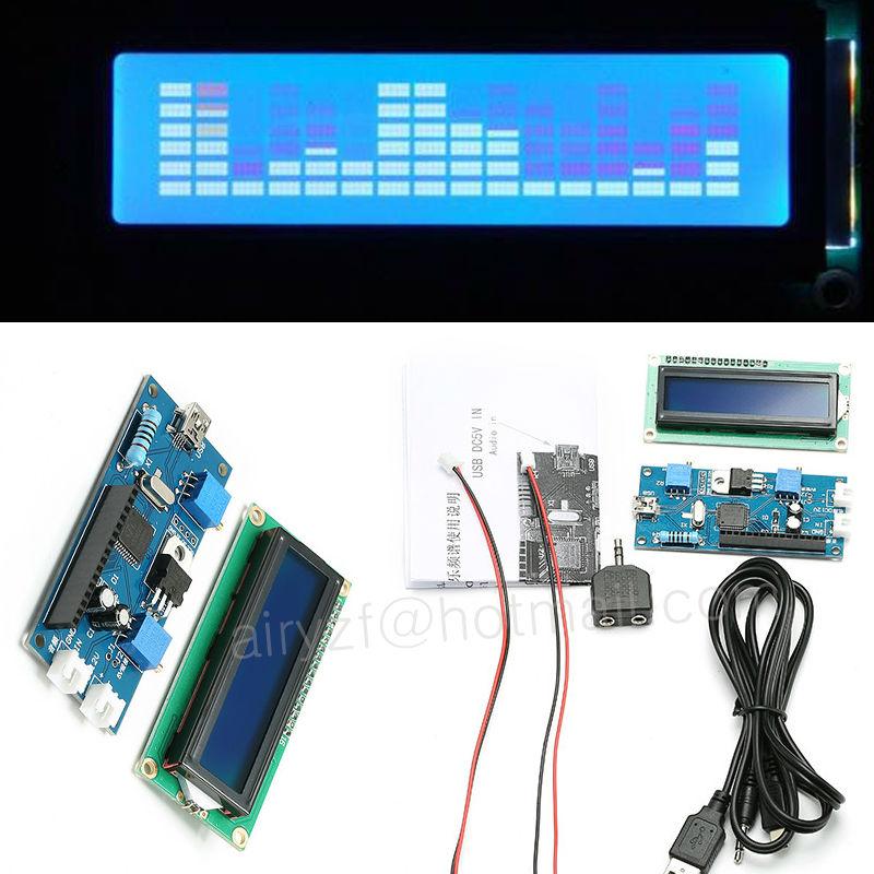 MS1602-Audio-Spectrum-Display-Automobile-Music-Spectrum-51-Single-chip-LCD