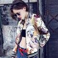 Новый Личность панк куртка Женщин Мода Печать статуя пальто Женский Бейсбол Равномерное Дамы Рок куртка Бомбардировщика пальто LX6079