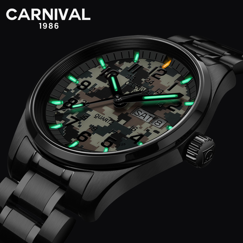 Switzerland Quartz Watches Tritium T25 luminous Men Sport Watch Carnival Military Wristwatches Waterproof Stainless Steel 2018