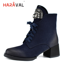 HARAVAL New Winter Ankle Boots Women Luxury Round Toe Thick High Heel Lace Up Warm Fur Shoes Diamond Soft Black Lady B198