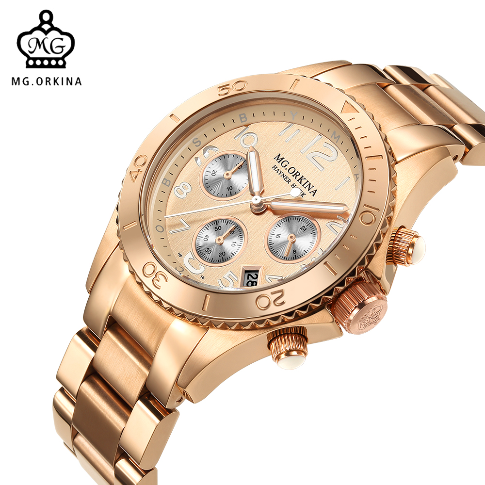 лучшая цена ORKINA 2018 Quartz Male Clock Luxury Designer Wrist Watch Men Rose Gold Stainless Steel 3ATM Water Resistant Herren Armbanduhr